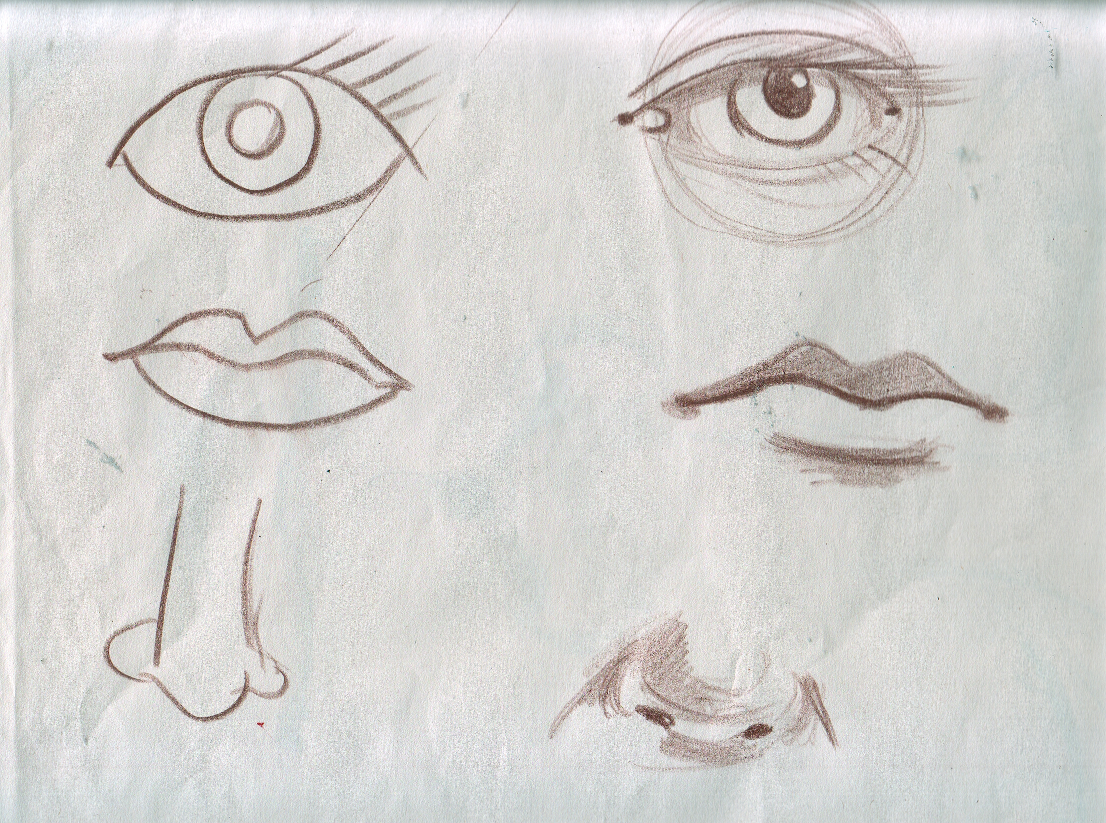 ... tutorial PART 4 of 8: EYES NOSE MOUTH using shadow not outline