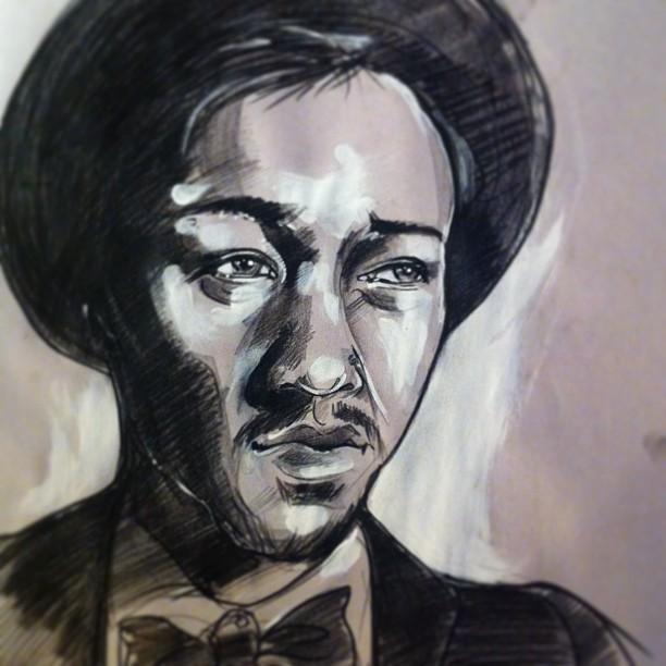 "My portrait of Jan Sam.  18"" x 24"" china marker, acrylic on newsprint."