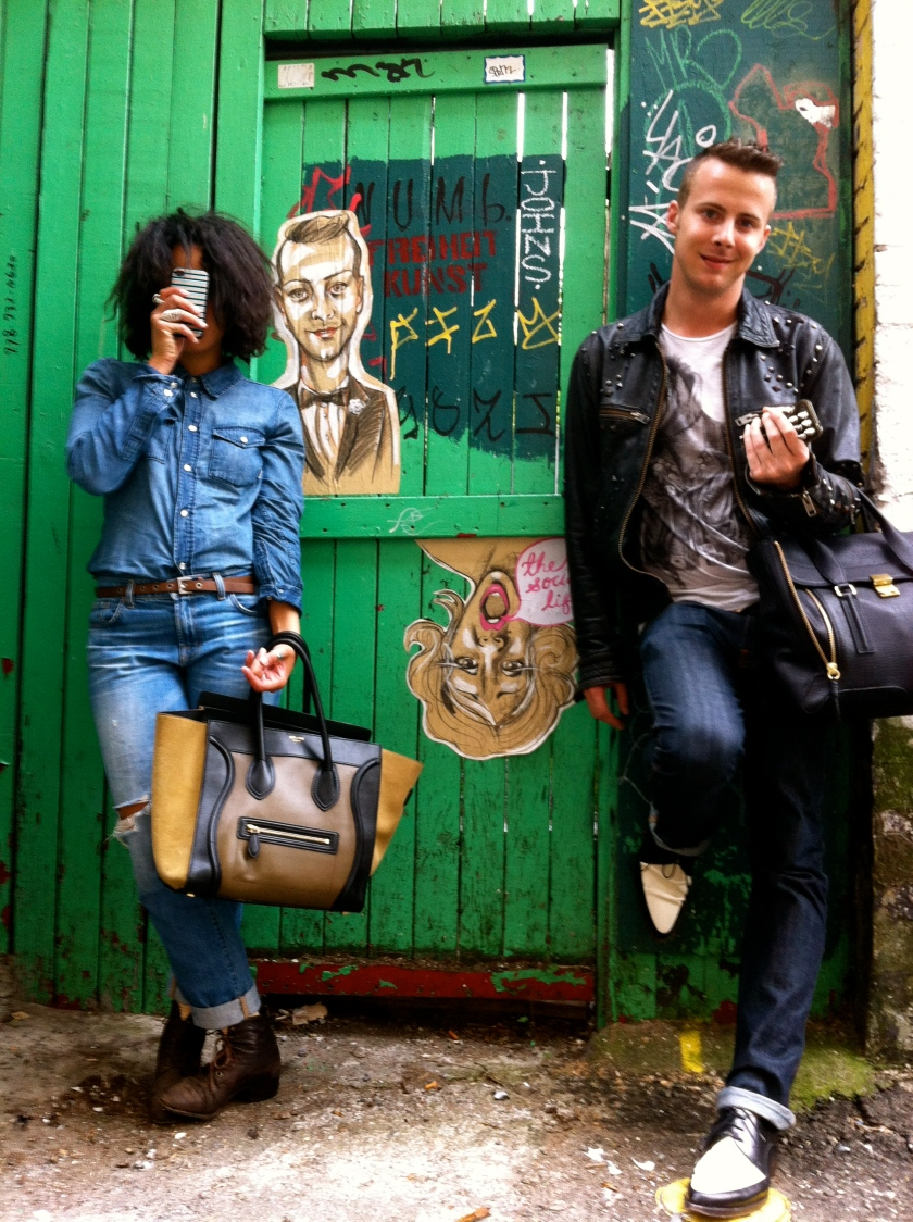 Anna T Fabulous and Josh Langston of The Social Life with their street art portraits by POSTSTREET (Kat Thorsen)