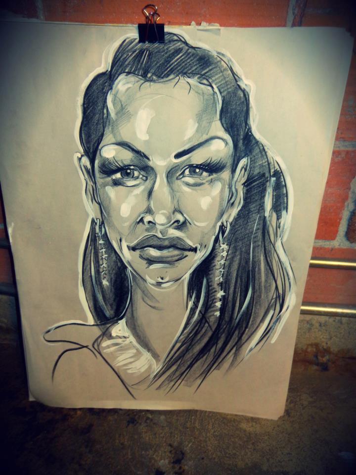 "My live portrait of Larissa.  China marker, 18"" x 24"" (photo by Jan Sam)"