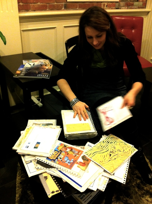Jennifer Lyons pulling apart the journal