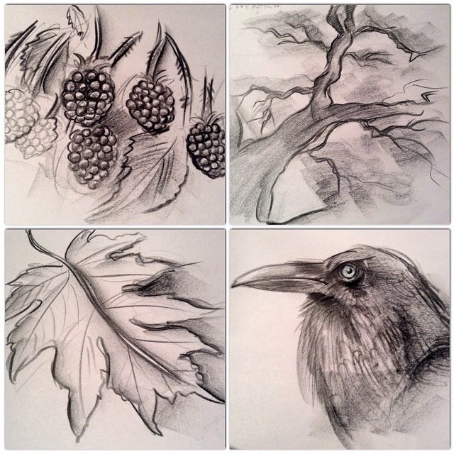 The Warrior (SOUTH)- imagined as a blackberry bush- emotional gateway ANGER; The Sovereign (NORTH)- imagined as Opa the tree- emotional gateway JOY; The Love (EAST)- imagined an autumn leaf- emotional gateway GRIEF; The Magician- imagined as a raven- emotional gateway FEAR