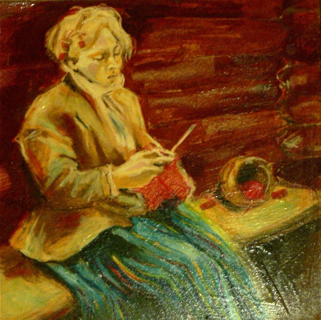 """K. Thorsen, 2000 (inspired from Anders Zorn's """"Stickande Kulla"""" 1901), oil pastel on gyproc"""
