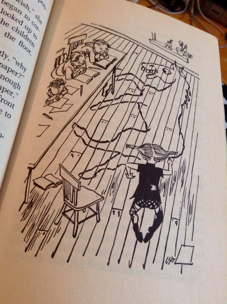 All the children sat looking at Pippi, who lay flat on the floor, drawing to her heart's content. 'But, Pippi,' said the teacher impatiently, 'why in the world aren't you drawing on your paper?' 'I filled that long ago. There isn't room enough for my whole horse on that little snip of paper.'