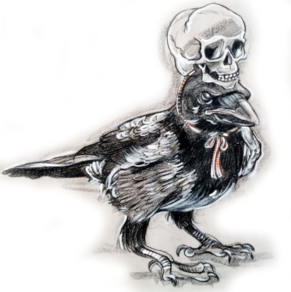 CROW WITH SKULL